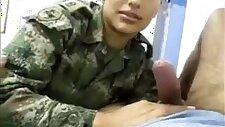 Korean solider girl licking his ball