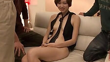 Akina Hara holds several dicks in her greedy mouth