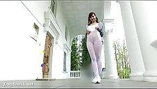 Jeny Smith Sporty Look White pantyhose flashing