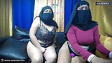 4 Muslim Lesbians in Hijabs on Webcam Show at Naseera