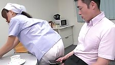 Cute Japanese maid flashes her big tits while sucking two dicks (FMM)