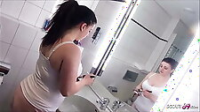 German BBW Stepsister Seduced to Fuck in Bathroom by Bro