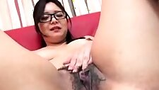 Cum inside hairy japanese with dildo part1