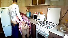 Son fucked in the big ass stepmom in the kitchen. Mother and stepson anal