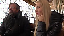 Blonde with big milkings cheats on her old husband with her lover...