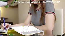 Naughty school slut Kira gets spanked and fucked by her tutor