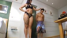 small slave abused by tall mistress