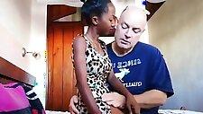 Skinny black teen gets banged by old man