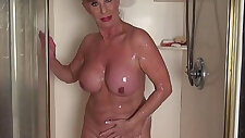 Mature woman in the shower