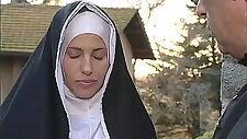 Two nuns are comforting a sister, but she don