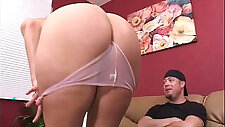 Oiled up bubble but slut gets fucked hard on the couch