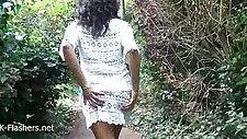 Ebony babe public flashing and outdoor masturbation of black amateu