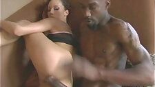 Oiled up hottie fucks a big black girl play with huge cock