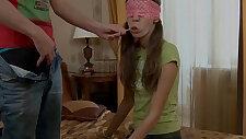 Cute brunette teen girl licking lollipop and cock hard sex